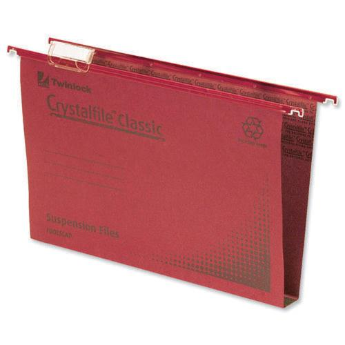 Rexel Crystalfile Classic Suspension File Complete 30mm Foolscap Red Pk 50 70622