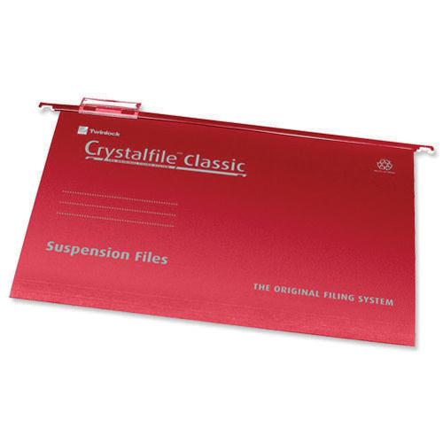 Rexel Crystalfile Classic Suspension File Complete Foolscap Red Pk 50 78141