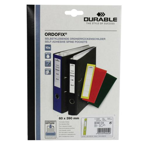 Durable Ordofix Spine Label Yellow Pk 10 8090/04