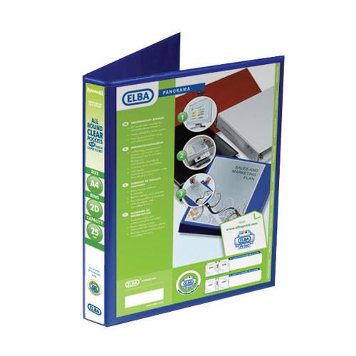Elba Panorama Presentation Binder A4 2D-Ring 25mm Blue 400008412