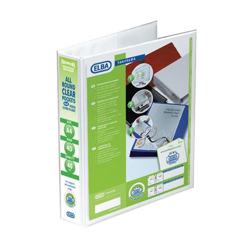 Elba A4 40mm 4D-Ring Presentation Binder White (Pk 10) 400001300