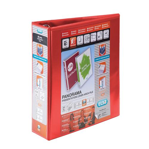 Elba Panorama Presentation Lever Arch File A4 70mm Red (Pk 5) 400008437