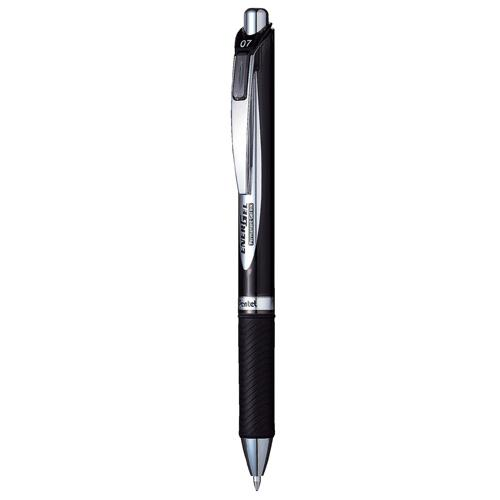 Pentel EnerGel Permanent Security Pen Black Pk12 0.7mm