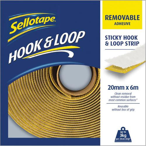 Sellotape Hook Loop Strip 20mmx6m Remov