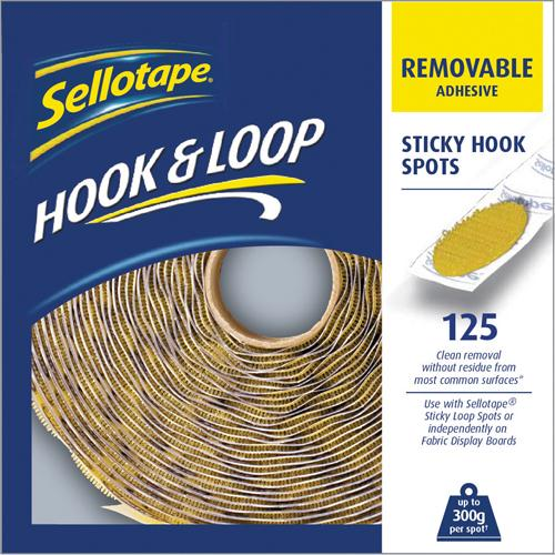 Sellotape Hook Spots Removable Pack 125