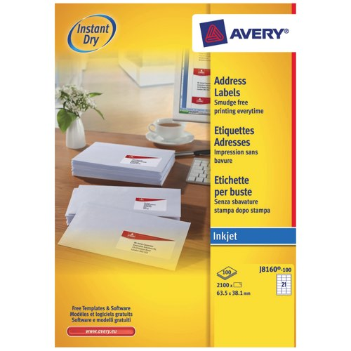 Avery Quick Dry Addressing Labels Inkjet 21 per Sheet 63.5x38.1mm White Ref J8160-100 Box 100