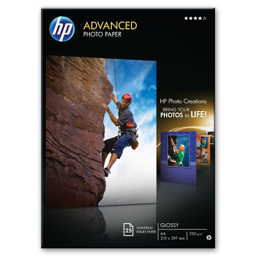 HP Advanced White Glossy 250gsm A4 Photo Paper (Pack of 25 Sheets) REF Q5456A