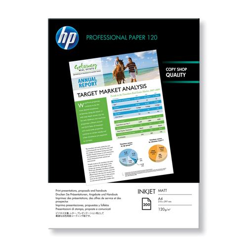 HP Professional Matte 120gsm A4 Inkjet Printer Paper Ream of 200