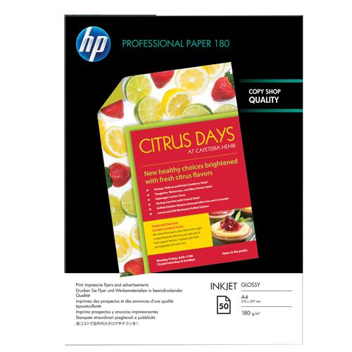 HP Brochure/Flyer Paper Glossy A4 Pk 50 180gsm C6818A