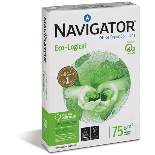 Navigator Eco-Logical 75gsm A4 Paper Ream of 500 Sheets (Pack of 5 Reams) REF NAVA475