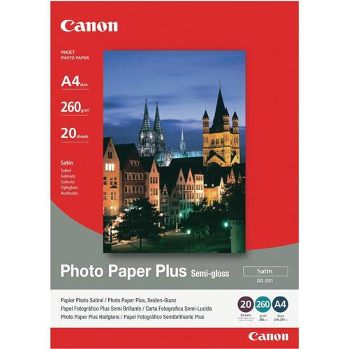 Canon Photo Paper Plus Semi-Gloss SG-201 A4 Pk 20 Sheets 1686B021