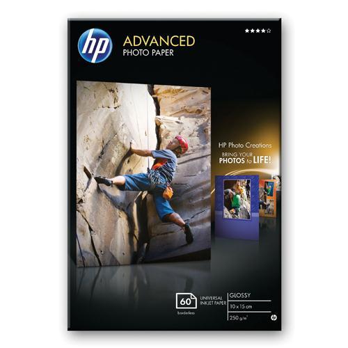 HP Advanced Glossy Photo Paper 250gsm 10x15cm Borderless Pk 60 Q8008A