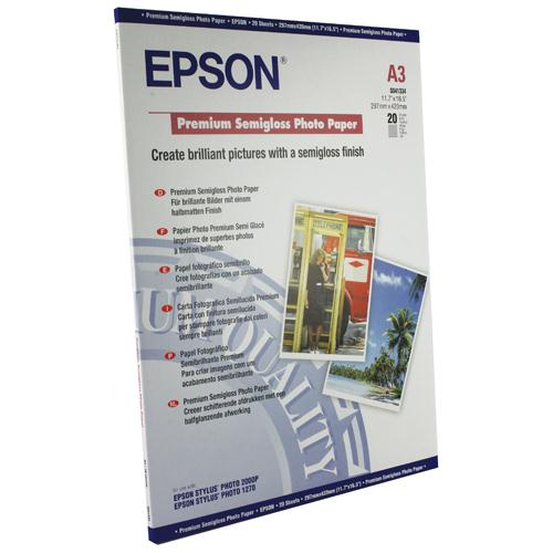 Epson Premium Semi-Gloss Photo Paper A3 Pk 20 C13S041334