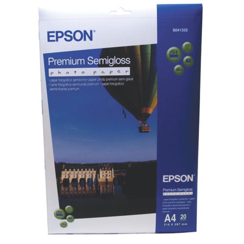 Epson Premium Semi-Gloss Photo Paper A4 Pk 20 C13S041332
