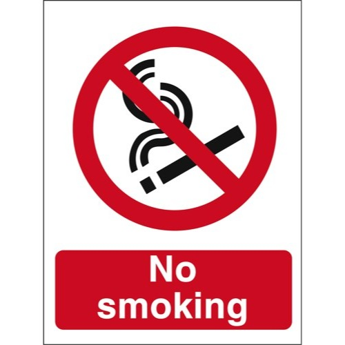 No Smoking Sign Semi-Rigid Plastic Self-Adhesive Ref PO89 Each