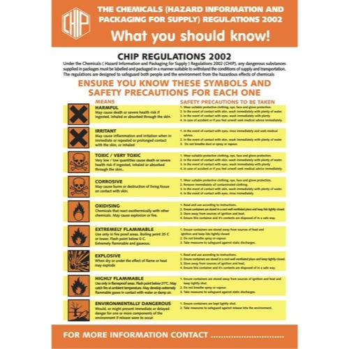 Chips Regulations Poster Semi-Rigid Plastic 420x595mm White/Orange/Black Ref HS030 Each