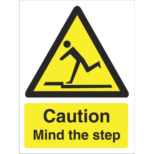 Sign Caution Mind The Step 150 x 200mm Self Adhesive Vinyl