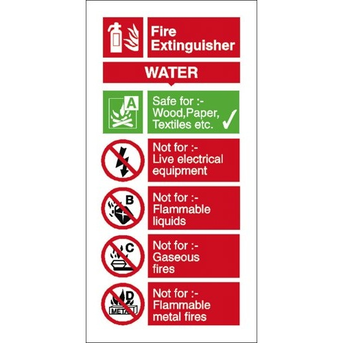Water Fire Extinguisher Usage Sign Self Adhesive Vinyl 100x200mm Ref FF091SAV Each