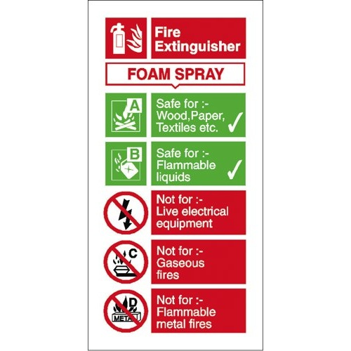 Foam Fire Extinguisher Usage Sign Self Adhesive Vinyl 100x200mm Ref FF094SAV Each