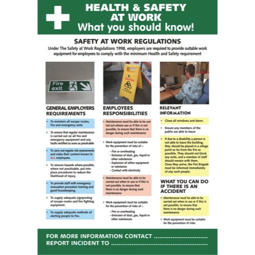 Health & Safety Poster Health And Safety At Work 420x595mm Ref HS106 Each