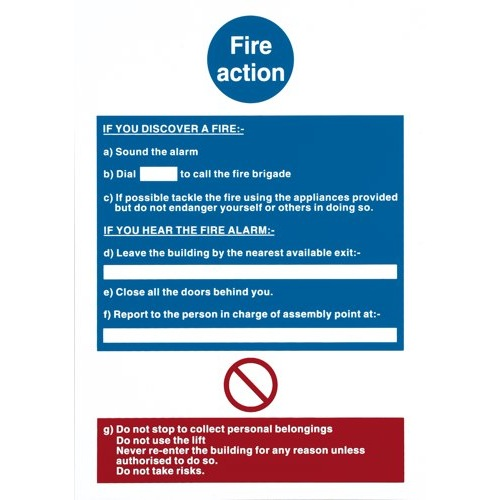 Fire Action Notice Semi-Rigid Plastic Self-Adhesive 210x300mm 2779040 Each