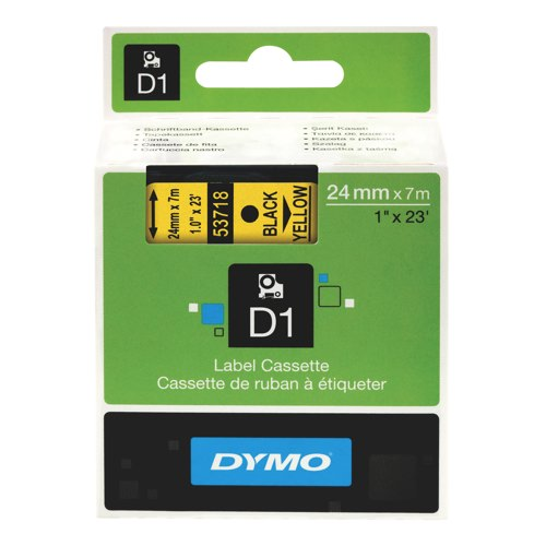 Dymo D1 Tape For Electronic Labelmakers 24mmx7m Black On Yellow Ref S0720980 Each