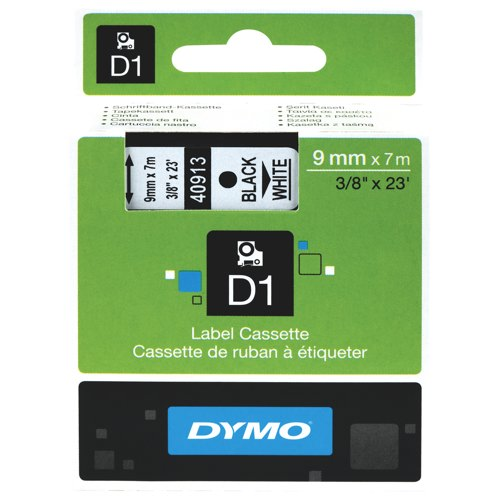 Dymo D1 Tape for Electronic Labelmakers 9mmx7m Black on White Ref S0720680 Each