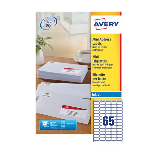 Avery Mini Inkjet Address Label 65TV per Sheet Pk 100 White J8651-100
