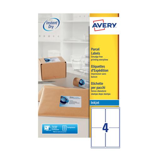 Avery QuickDRY Inkjet Label 139x99.1mm 4 per Sheet Pk 25 J8169-25