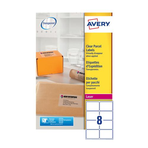 Avery Clear Laser Label 99.1x67.7mm 8 per Sheet Pk 25 L7565-25