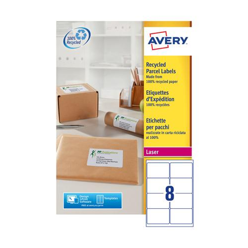 Avery Recycled Laser Label White Address 99.1x67.7mm 8 per Sheet Pk 100 LR7165-100