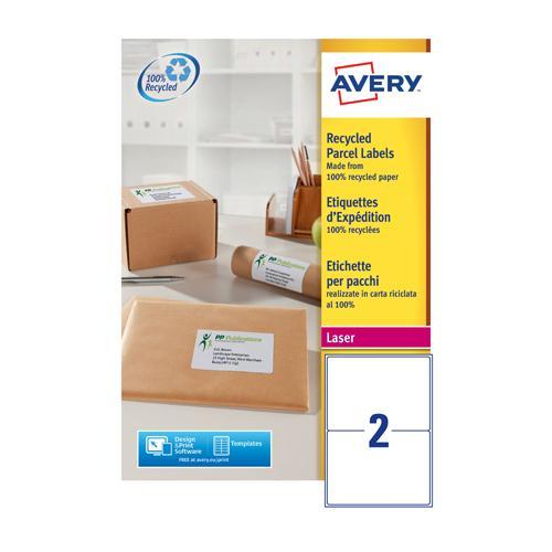 Avery Laser Shipping Label White 199.6x143.5mm 2 per Sheet Pk 100 LR7168-100