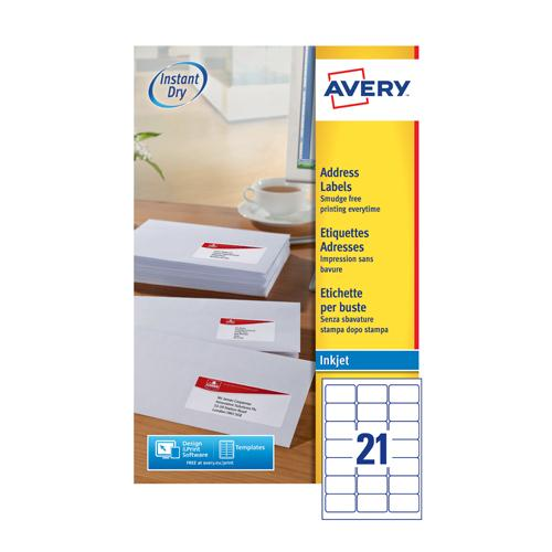 Avery Inkjet Labels 21/Sheet 63.5x38.1 25Sheet