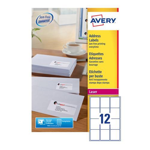 Avery Laser Labels 63.5x72mm White Pk250 L7164E