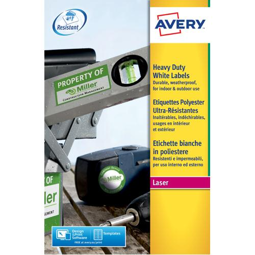 Avery Laser Label Heavy Duty 24/Sheet 20/Pk White