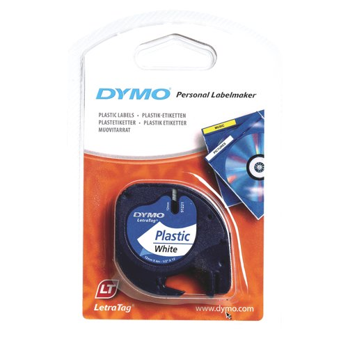 Dymo Letra Tag Label 12mmx4m Plastic 91201 White Ref S0721610 Each