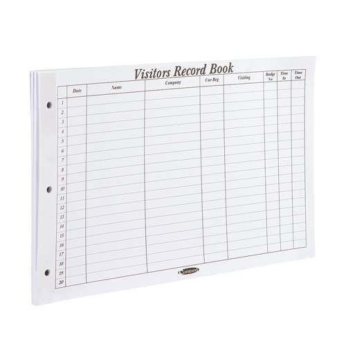 Concord Refill for Visitors Book Pack 50 Sheets 2000 Entries 230x355mm Ref 85801/CD14P