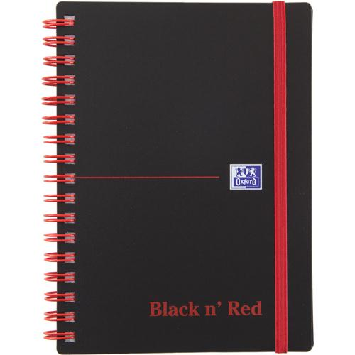 Black n' Red Wirebound Elasticated Notebook A6 Polypropylene 140 Pages Feint 100080476