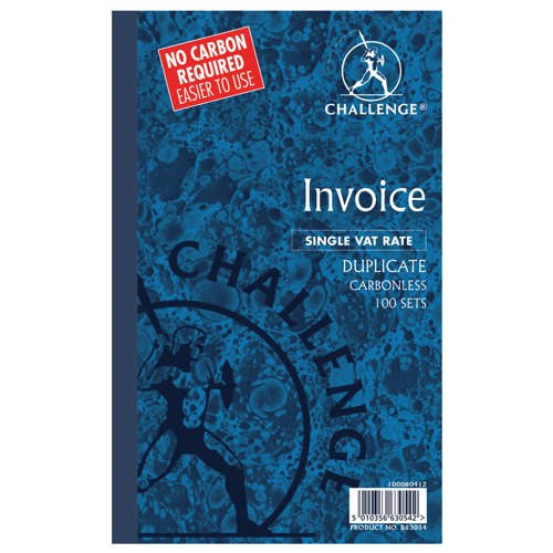 Challenge Duplicate Book Carbonless Invoice Single VAT/Tax 210x130mm Ref 100080412
