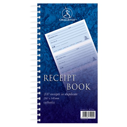 Challenge Duplicate Receipt Book 280x141mm Wirebound 4 Sets per Page 200 Receipts Ref 100080056 Each