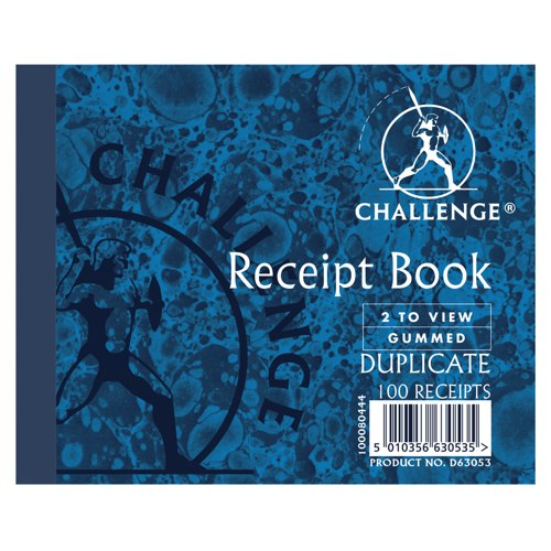 Challenge Duplicate Book Gummed Sheets with Carbon Receipt 2-to-View 105x130mm Ref 100080444