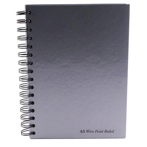 Pukka Pad Wirebound Book A5 160 Pages Feint Perforated 90gsm Silver/Black WRULA5