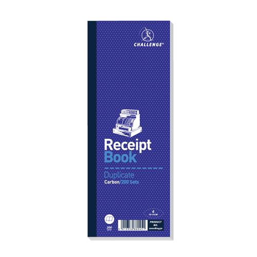 Challenge Receipt Book Duplicate Carbon 200 Sets 241x92mm Pk 10 100080450
