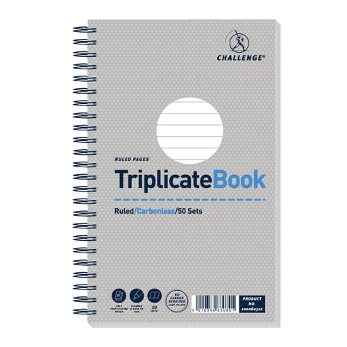 Challenge Triplicate Book Ruled Carbonless 50 Sets 210x130mm Pk 5 100080512