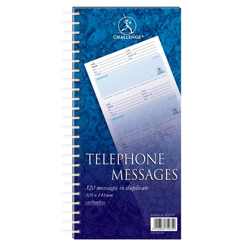 Challenge Wirebound Telephone Message Pad 305x152mm 320 Messages 100080054