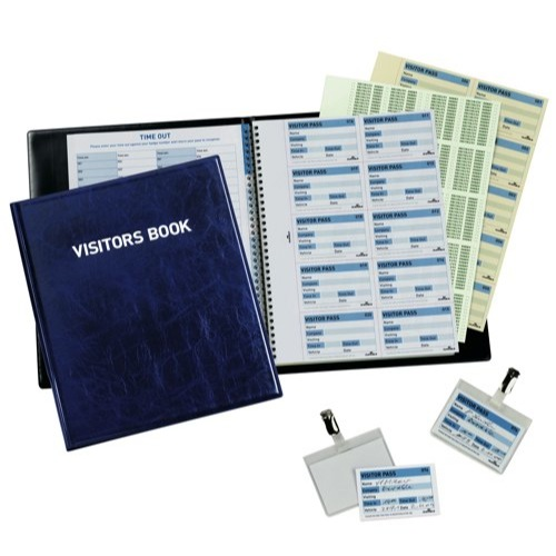Durable Visitors Book Leather Look 300 Badge Inserts 90x60mm Ref 1465/00 Each