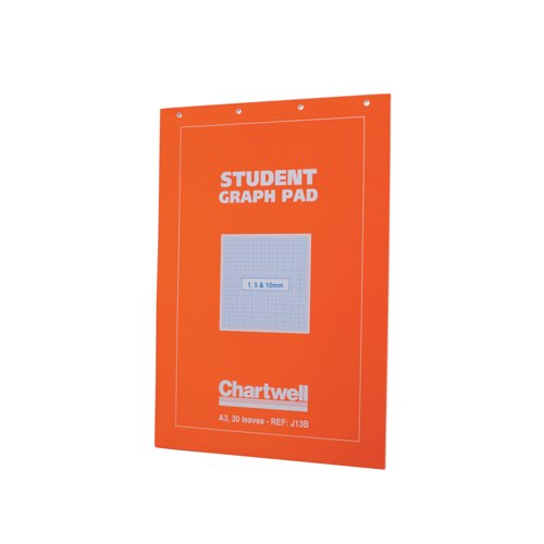Chartwell Student Graph Pad 70gsm 1mm 5mm 10mm Grid 30 Sheets /60 Pages A3 Orange Cover Ref J13BZ