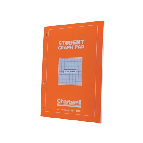 Chartwell Student Graph Pad 70gsm 1mm 5mm 10mm Grid 50 Sheets/100 pages A4 Orange Cover Ref J14BZ