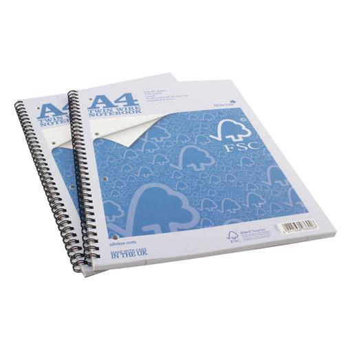 Silvine A4 Twin Wire Notebook 160 Pages Ruled with Margin (Pk 5) FSCTW80