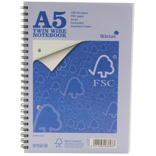 Silvine A5 Twin Wire Notebook 160 Pages Feint Ruled Pk5TWA5